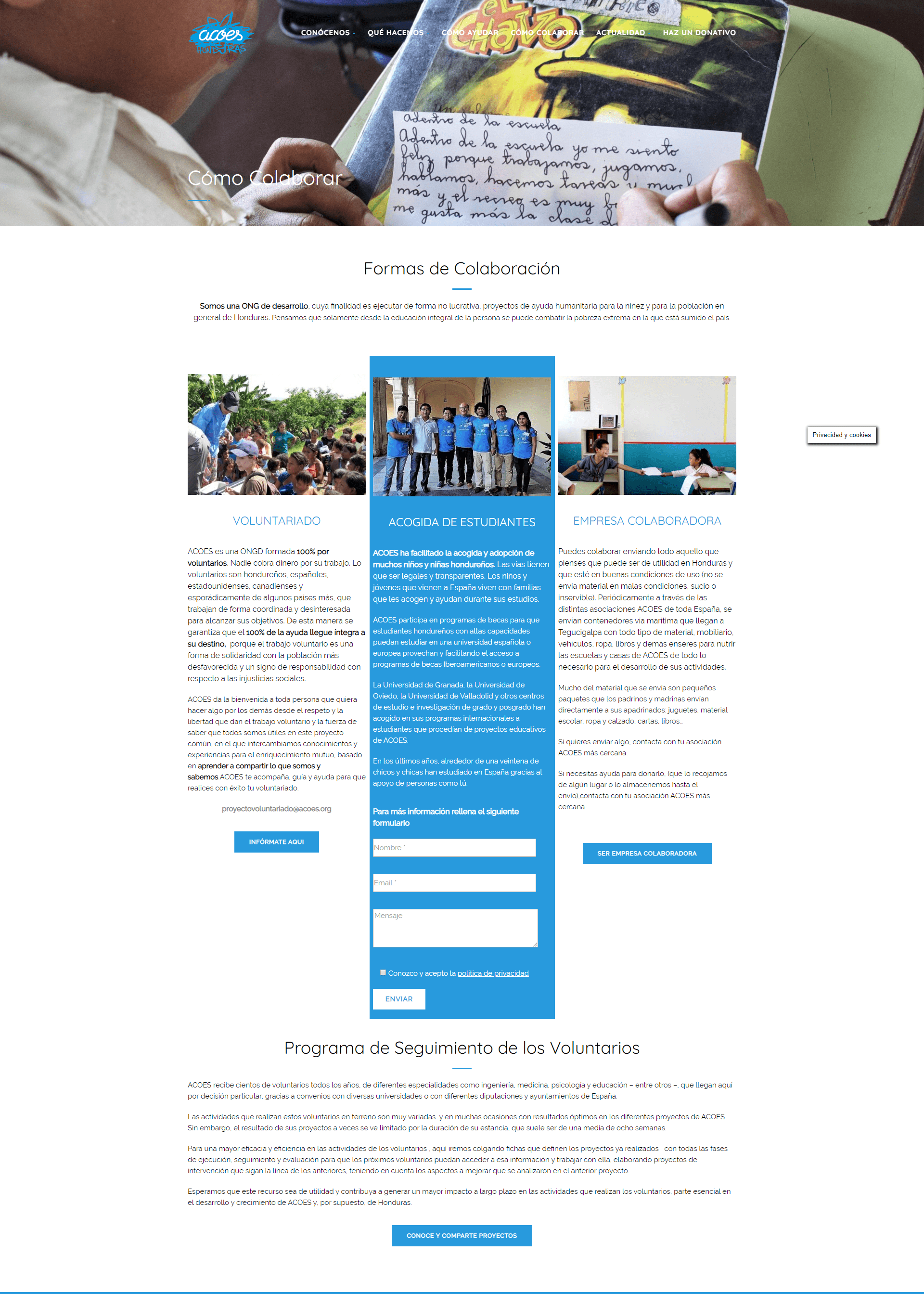 Colaborar en ACOES Honduras