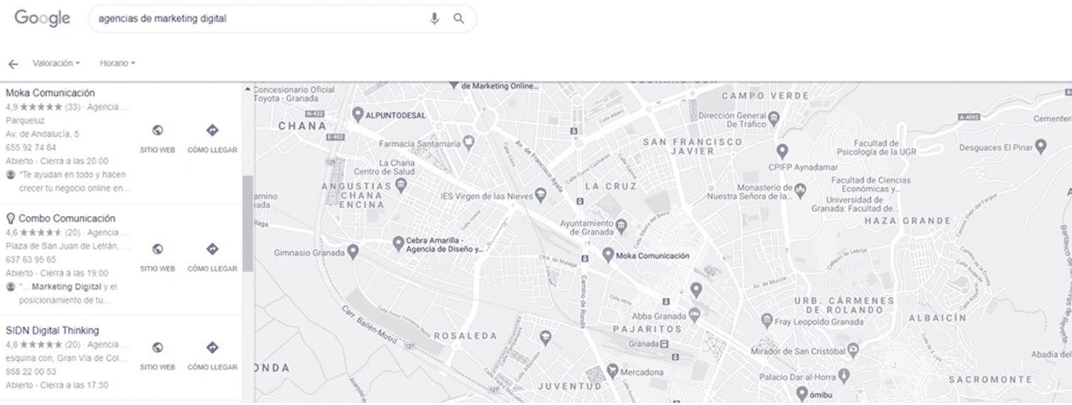 Ficha de Google Maps de nuestra agencia.
