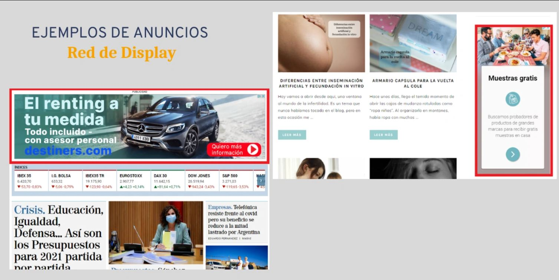 imagenes que muestra ejemplos de anuncios en la red de display
