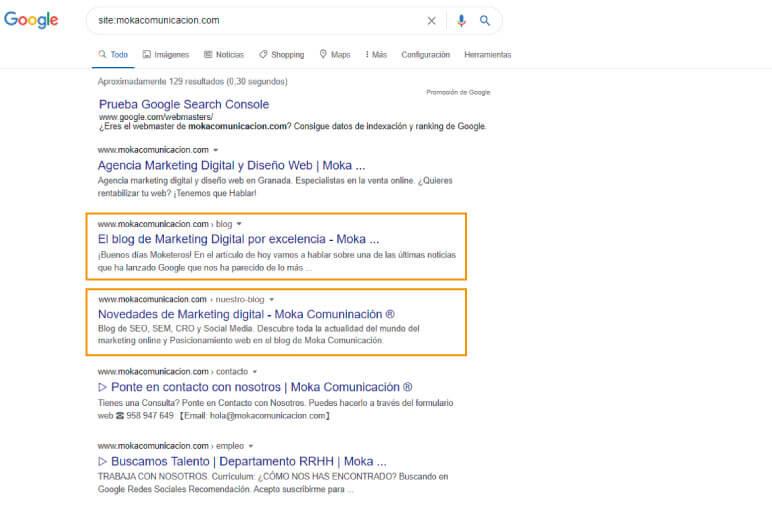 Vista de páginas con el mismo contenido: comando site